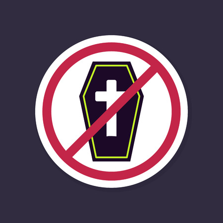 graves: No, Ban or Stop signs. Halloween Coffin icon, Prohibition forbidden red symbols, vector illustration eps 10