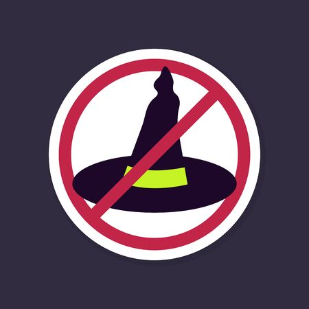 No, Ban or Stop signs. Halloween, Witch hat icon, Prohibition forbidden red symbols, vector illustration eps 10