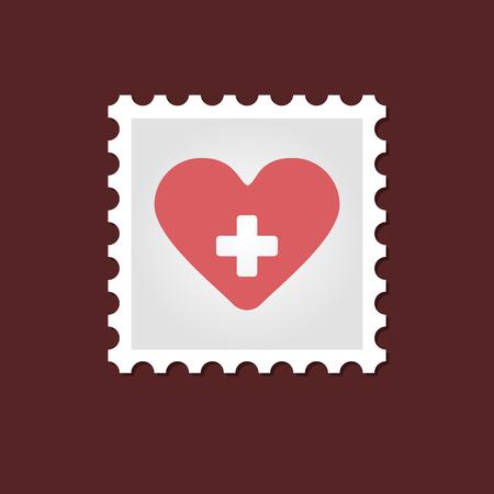 heart outline: Vector sign, medical stamp heart  outline, eps 10
