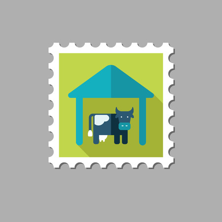 granary: Cowshed flat stamp with long shadow, eps 10