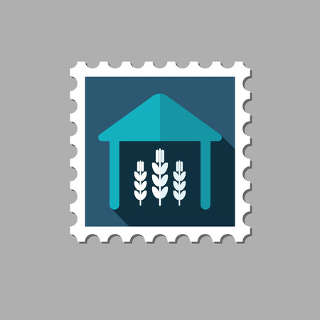 pavilion: Barn flat stamp with long shadow, eps 10