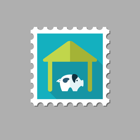 granary: Pigsty flat stamp with long shadow, eps 10