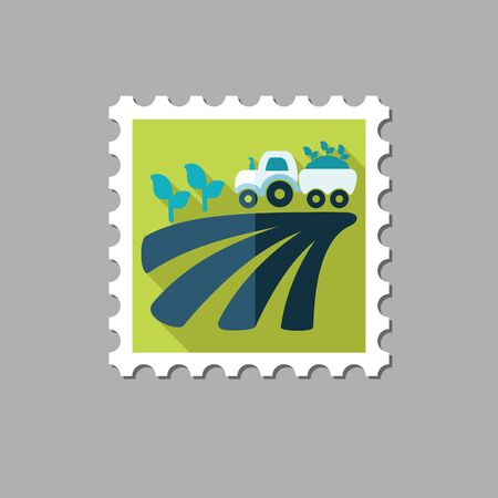 seedling: Tractor on field harvest seedling flat stamp with long shadow, eps 10
