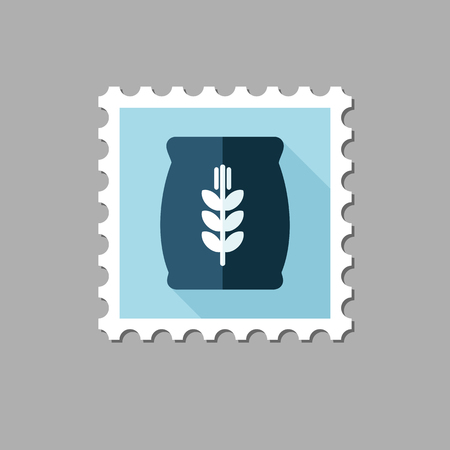 grain: Sack of grain flat stamp with long shadow, eps 10 Illustration