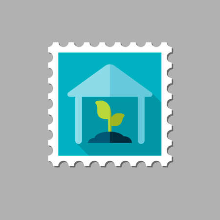 greenhouse: Greenhouse flat stamp with long shadow, eps 10 Illustration