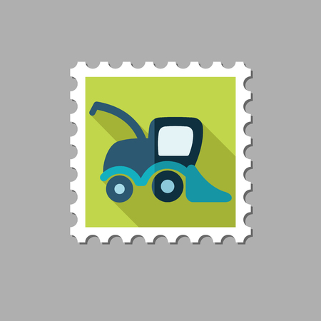 combine harvester: Combine harvester flat stamp with long shadow, eps 10
