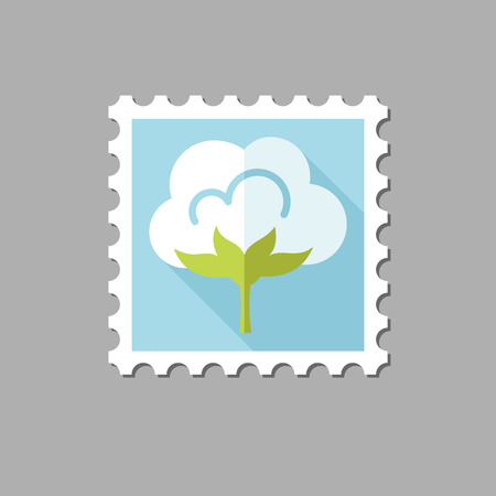 cotton flower: Cotton flat stamp with long shadow, eps 10