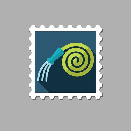 spring out: Garden Hose flat stamp with long shadow, eps 10