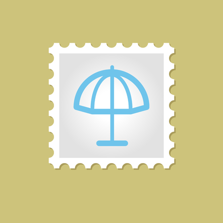 sunshade: Beach parasol vector stamp outline, eps 10