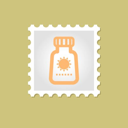 sun tanning: Sunscreen vector stamp outline isolated, eps 10