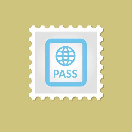 emigration: Passport vector stamp outline illustration, eps 10