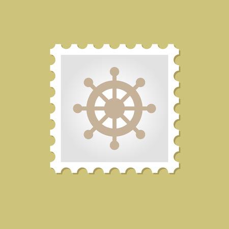 ship steering wheel: Ship Steering Wheel vector stamp , eps 10