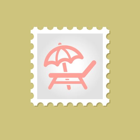 daybed: Lounger Beach Sunbed Chair vector stamp , eps 10