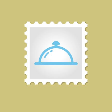dine: Restaurant Cloche vector stamp outline silhouette, eps 10