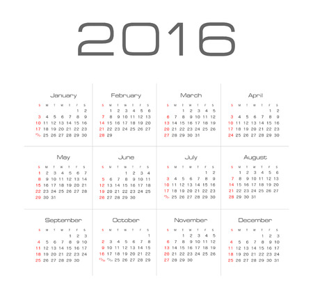 Simple 2016 year vector calendar Çizim