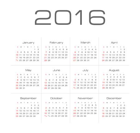 Simple 2016 year vector calendar Illustration