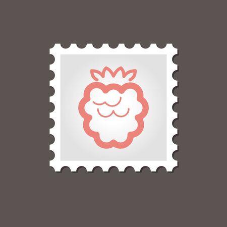 dewberry: Raspberry stamp. Outline vector illustration
