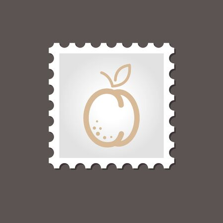 apricot: Apricot stamp. Outline vector illustration, eps 10