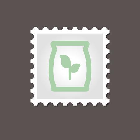potassium: Fertilizer stamp. Outline vector illustration. Present By Green Nitrogen, Potassium, Phosphorus and Leaf Sack, eps 10
