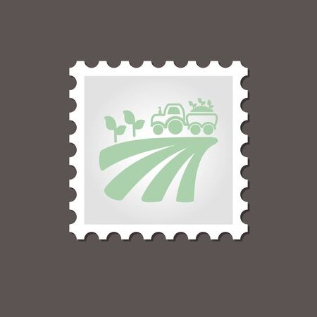 seedling: Tractor on field harvest seedling stamp. Outline vector illustration, eps 10 Illustration
