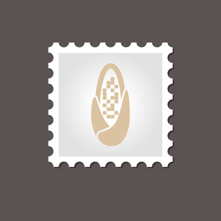 corncob: Corncob stamp. Outline vector illustration, eps 10