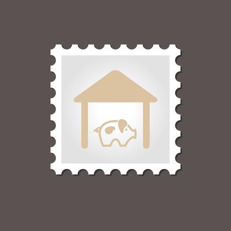pigsty: Pigsty stamp. Outline vector illustration, eps 10 Illustration