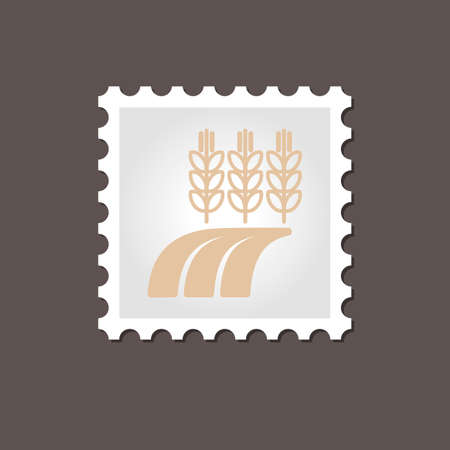 barley field: Ears of Wheat, Barley or Rye on field stamp. Outline vector illustration, eps 10 Illustration