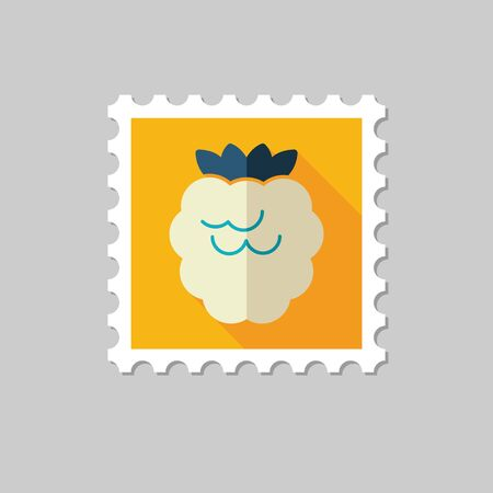 dewberry: Raspberry flat stamp with long shadow Illustration