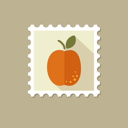apricot: Apricot flat stamp with long shadow, eps 10 Illustration