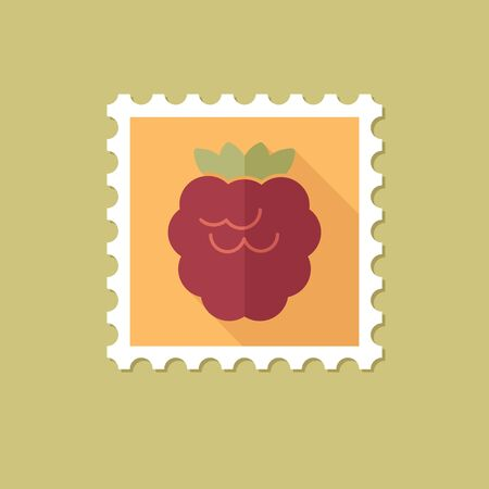 bramble: Raspberry flat stamp with long shadow, eps 10