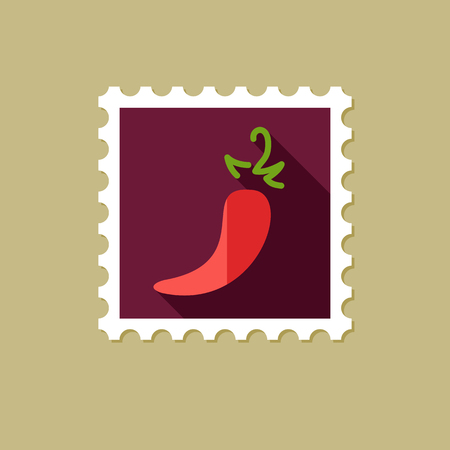 organic peppers sign: Chili pepper flat stamp with long shadow, eps 10 Illustration