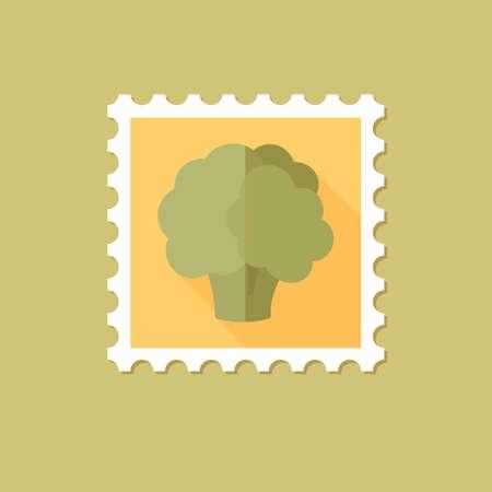 cauliflower: Cauliflower flat stamp with long shadow, eps 10
