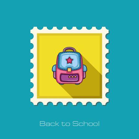 zaino scuola: School Backpack flat stamp, vector illustration eps 10
