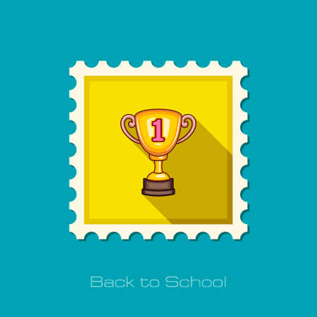 award winning: Winner Cup flat stamp, vector illustration eps 10 Stock Photo