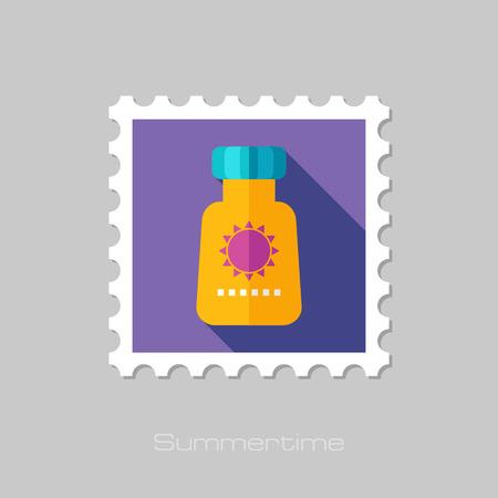 suntan cream: Sunscreen flat stamp with long shadow, eps 10