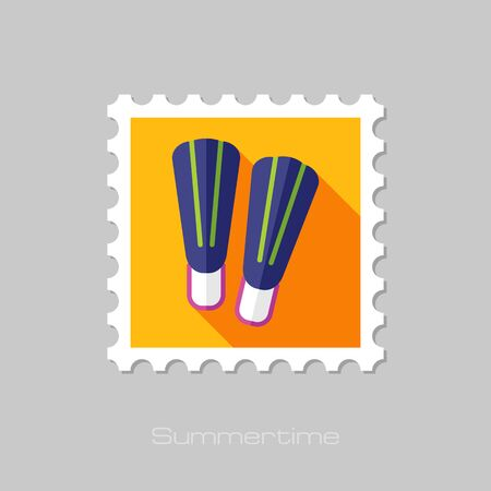 flippers: Flippers flat stamp with long shadow, eps 10 Illustration