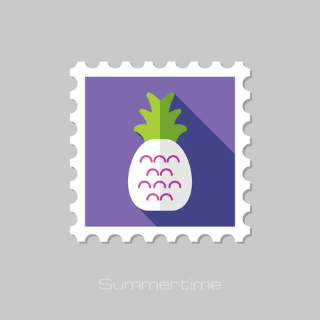 pineapple juice: Pineapple flat stamp with long shadow, eps 10