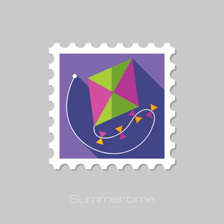postage stamps: Kite flat stamp with long shadow, eps 10 Illustration
