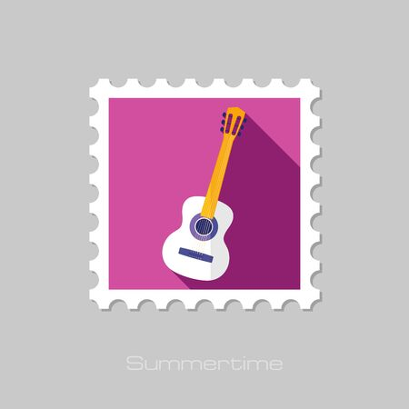 rythm: Guitar Beach flat stamp with long shadow, eps 10