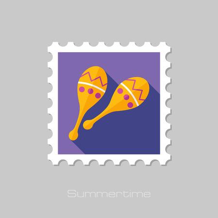 maracas: Maracas flat stamp with long shadow, eps 10