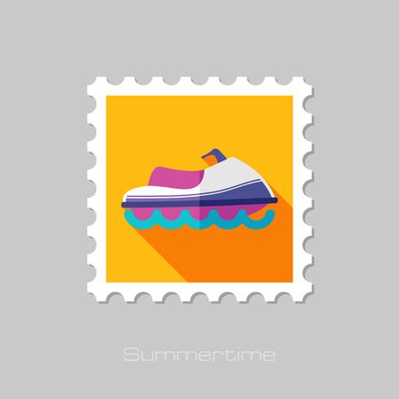 jetski: Jet Ski flat stamp with long shadow, eps 10 Illustration