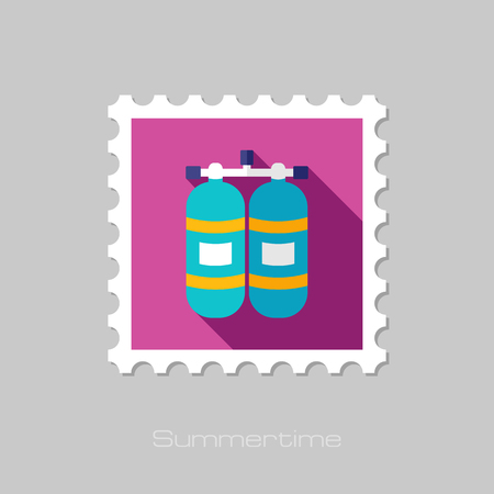 gas cylinder: Oxygen tank flat stamp with long shadow, eps 10 Illustration