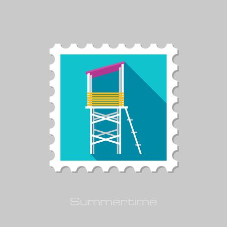 lifeguard: Lifeguard tower flat stamp with long shadow, eps 10