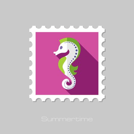 horsefish: Sea Horse flat stamp with long shadow, eps 10