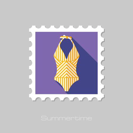 nude girl: Swimsuit flat stamp with long shadow, eps 10 Illustration