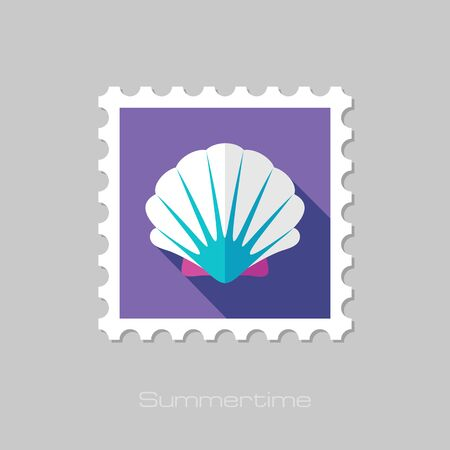 seashell: Seashell flat stamp with long shadow, eps 10 Illustration
