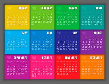meses del a�o: Calendario 2016 a�os con el color del vector cuadrado, eps 10