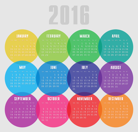 Calendar 2016 year with colored circle vector, eps 10