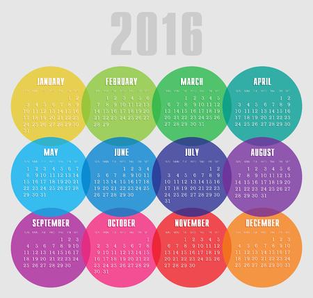 calendrier: Calendrier 2016 ann�es avec le vecteur de cercle color�, eps 10