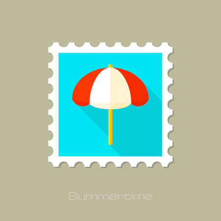 parasol: Beach parasol flat stamp with long shadow, eps 10 Illustration